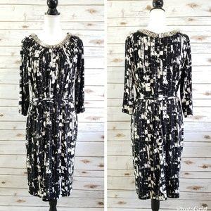 Adrianna Papell Midi Dress Abstract Print